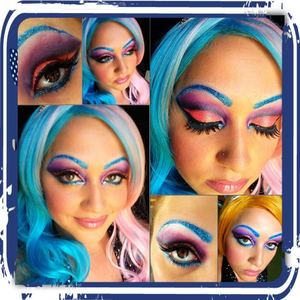 a crazy candy colored look inspired by the queen of blending! bright,glitter,lashes