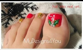 Christmas Holly Toenail Art Design ♥ Holiday Pedicure