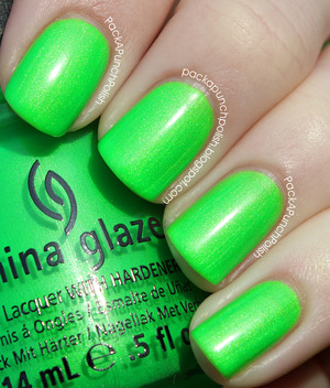 I'm With The Lifeguard by China Glaze. Holy cow, this is a bright polish. It's a neon lime green. It's part of the Summer Neons Collection. This is 2 coats without top coat.  Full Blog Post: http://packapunchpolish.blogspot.com/2012/12/china-glaze-im-with-lifeguard.html