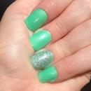 Green semi glitter nails