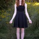 Sleeveless Lace Bandeau Ruffles Black Dress