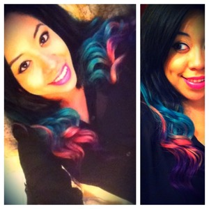 DIY hair extensions multicolor ombré