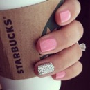 Feminine pink and silver glitter accent nail