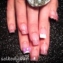 Two color French acrylic with a pretty purple bow
