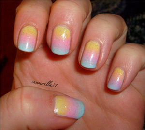 China Glaze Lemon Fizz, OPI Pink Friday, Cosmetic Arts pastel blue nail polish and Wet N Wild Hallucinate