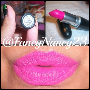 Candy Yum Yum Lipstick by M.A.C. Cosmetics. Love this vibrant pink lippie!!! Follow me on Instagram @FancyNancy23