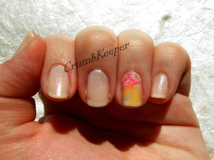 Polishes used: Sinful Colors Base Coat Sally Hansen Diamond Strength: -Aisle Be There Maybelline Color Show in: -Go Nude -Orange Fix -Fierce and Tangy -Pinkalicious Seche Vite Top Coat  Tools used:  Stamping Plate: MASH 61