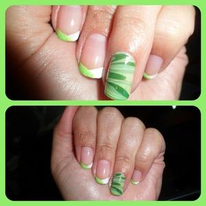 Efecto mármol en tonos verdes