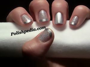 I am really loving this design.  I have been wearing it for two days now and I can't get enough of it!  Watch the video tutorial @ http://polishpedia.com/glitter-french-tip-nail-art.html & See what products I used there.