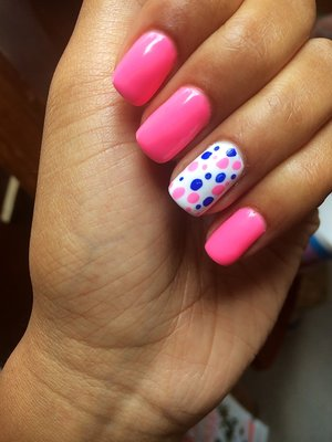 These are super cute nails for summer! And they're my favorite colors pink and blue!