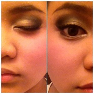 Dramatic look with gold black and brown eyeshadow