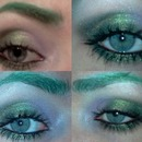 Shimmery green/purple eye with green brows
