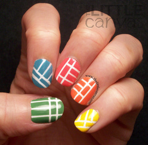 Simple mani using the Zoya Stunning polishes - http://www.thelittlecanvas.com/2013/05/zoya-stunning-tape-manicure.html