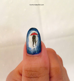 Detail Tutorial http://lovefornailpolish.com/silhouette-nail-art-couple-kissing-in-the-rain-silhouette