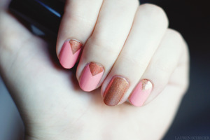 "I created this look using Barielle ""Blossom"" for the pink/coral colour, and Revlon ColorStay Longwear nail polish in ""Fall Mood""."