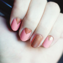 Coral/Gold Chevron Nails