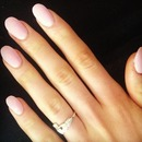 Pale pink oval nails