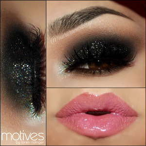 instagram @auroramakeup FB: https://www.facebook.com/AuroraAmorPorElMaquillaje  There are so many ways to pop up a Smokey eye that the list never ends =) This look is one of those...just as an idea for New Year's Party  Products @motivescosmetics by @lorenridinger  Eye Shadow Base  Pressed Eye Shadow in VANILLA to highlight brow bone  Pressed Eye Shadow in CAPPUCCINO as transition color on the crease  Mineral Pressed Blush in INNOVATIVE as transition color in the crease to blend the black eye shadow  Gel eyeliner in LITTLE BLACK DRESS as base on mobile eyelid and to line top lashes   Pressed Eye Shadow in ONIX to set the gel eyeliner in mobile eyelid and blend the edges towards the brow bone  Pressed Eye Shadow in LIQUID in the inner corner  Khol Eyeliner in COFFEE in waterline and below lower lashes  Pressed Eye Shadow in HOT CHOCOLATE below lower lashes blending the edges of Khol eyeliner   Glitter Pots in LAGOON BLUE, KARMA, PLUM FAIRY, POT Of GOLD and JEWEL PINK ....a little amount of each one mixed together to cover mobile eyelid using Glitter Adhesive  Glitter Pot in DIAMOND on the inner corner only   Lala Mineral Volumizing & Lengthening  mascara in BLACK in top and lower lashes  Mineral Lip Crayon in CINNAMON as a base on my lips   Mineral Lip Shine in PASSION on top  LASHES are Double Up #206 by @ardell_lashes  BROWS were made with DIP BROW POMADE in EBONY by @anastasiabeverlyhills