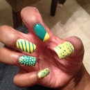 Yellow and teal nails