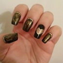 black&golden heart day nails