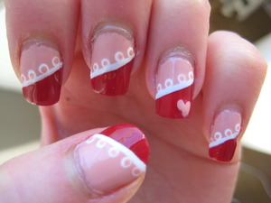red and pink valentine's nails