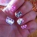 Hello Kitty mismatched nails