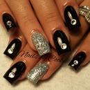 Black & Glitter Nails w/Diamonds