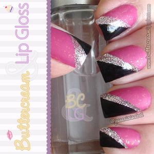 Matte Hot Pink, Silver & Black Mani http://www.buttercreamandlipgloss.com/2012/07/gallery-notw-matte-hot-pink-silver.html