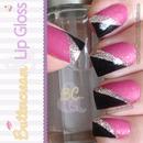 Matte Hot Pink, Silver & Black Mani