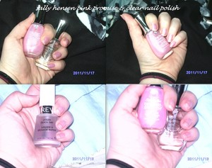 used 2 coats of the pink promise and one coat of the clear nail polish. used the revlon quick dry in between coasts.