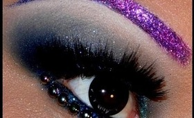 Purple Glitter Eyebrows and Glittery Smokey Blue Eyes!!!!!!