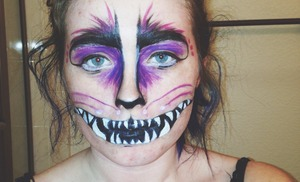 First attempt at a Cheshire Cat makeup. I myself wasn't too pleased with the outcome, I will be trying this again soon!