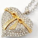 Two tone pave style heart shaped pendandt