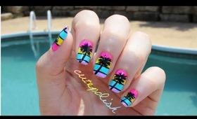 California Palm Tree Nail Art