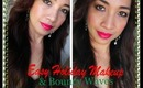 Easy Holiday Makeup & Bouncy Waves Hairstyle