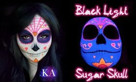 Black Light Sugar Skull Halloween Makeup Tutorial