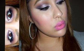 Purple smokey eyes and Pink lips