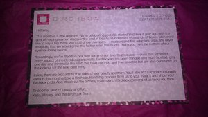 Birchbox - September 2011 Birthday letter