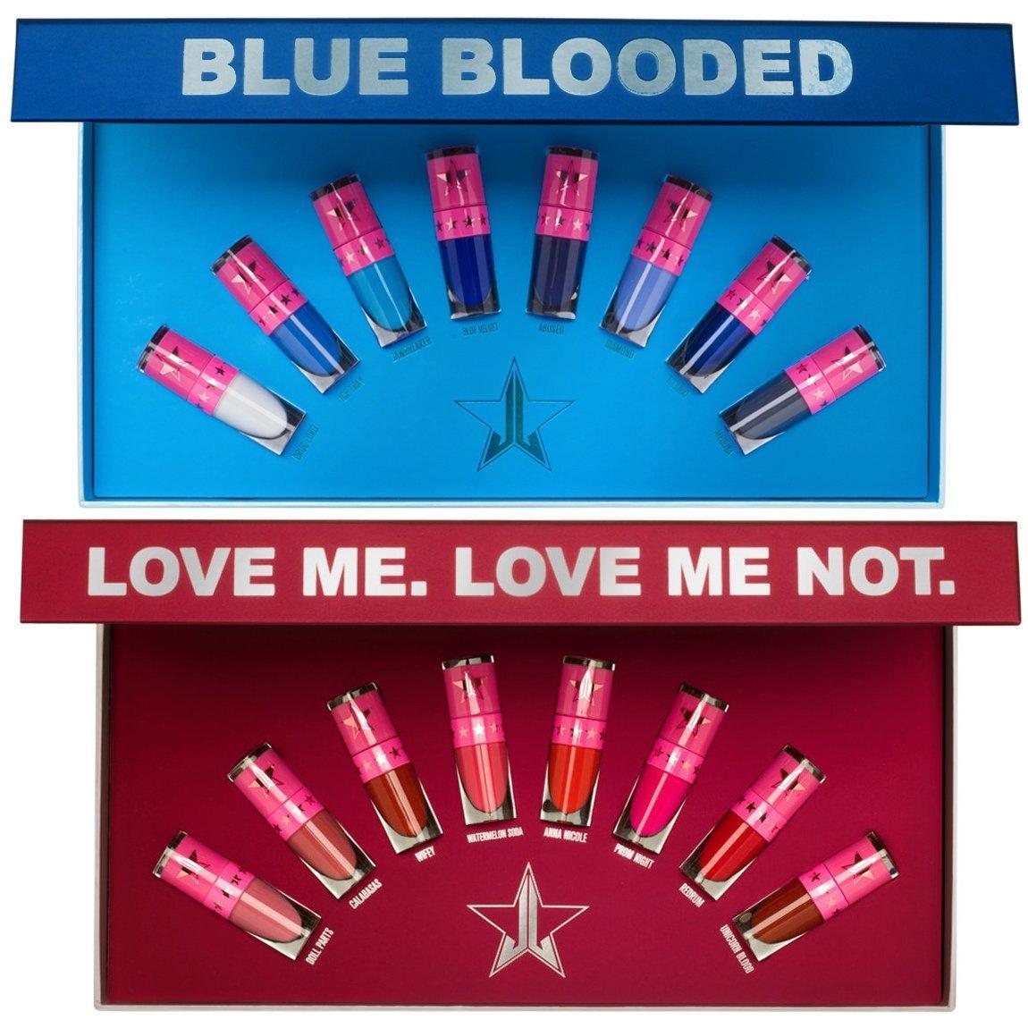 Jeffree Star Cosmetics Mini Blue Blood & Mini Reds & Pinks Bundle product swatch.