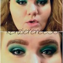 Green Eye look with winged liner