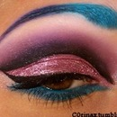 Pink cut crease & blue brows!