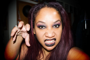 Goth look - burgundy & black