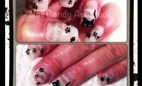 Kitty Loves Newspaper Nail Art Design