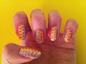 For this mani I used L'Oreal JetSet Brisk and Revlon Top speed Candy and Lily.
