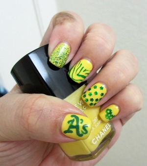 Chanel L.A. Sunrise,Essie Pretty Edgy, Konad Special Green Polish and OPI Fresh Frog Of Bel Air