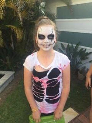 My little cousins friend as a Skeleton. Makeup by yours truly.