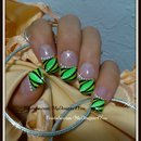Abstract French Tip Nail Art - Light Grreen