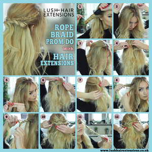 Soft and romantic half up do with hair extensions, would make a great prom style! Full instructions and video here - https://www.lushhairextensions.co.uk/how-to-do-a-pretty-rope-twist-and-braid-prom-do-using-clip-in-hair-extensions