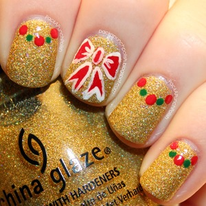 A simple holiday nail art design. China Glaze Angel Wings is the base color. The designs are done with apple barrel acrylic paint. The top coat I used is Out The Door.  Full Blog Post: http://packapunchpolish.blogspot.com/2012/12/holiday-bows-and-dotted-half-moon-nail.html  Video Tutorial: http://youtu.be/5mqsrkZsxc0