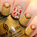 Holiday Bows and Dotted Half Moon Nail Art